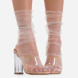 Diamante Detail Socks In Nude Mesh