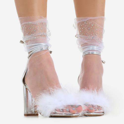 Diamante Detail Socks In White Mesh