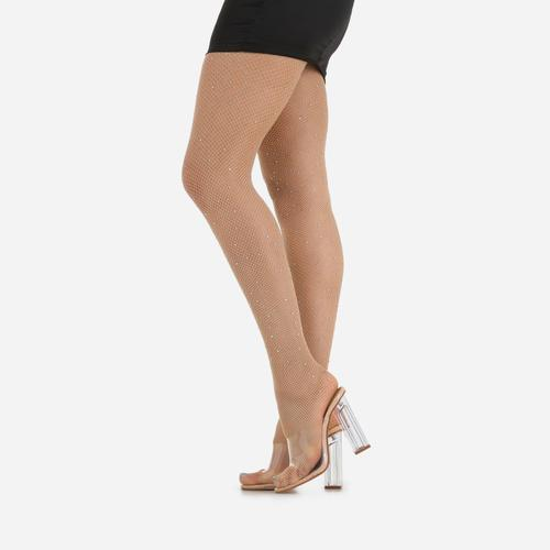 Diamante Detail Tights In Nude Fishnet