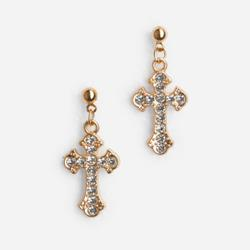 Diamante Cross Drop Earrings In Gold