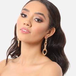 Chain Link Drop Earrings In Gold