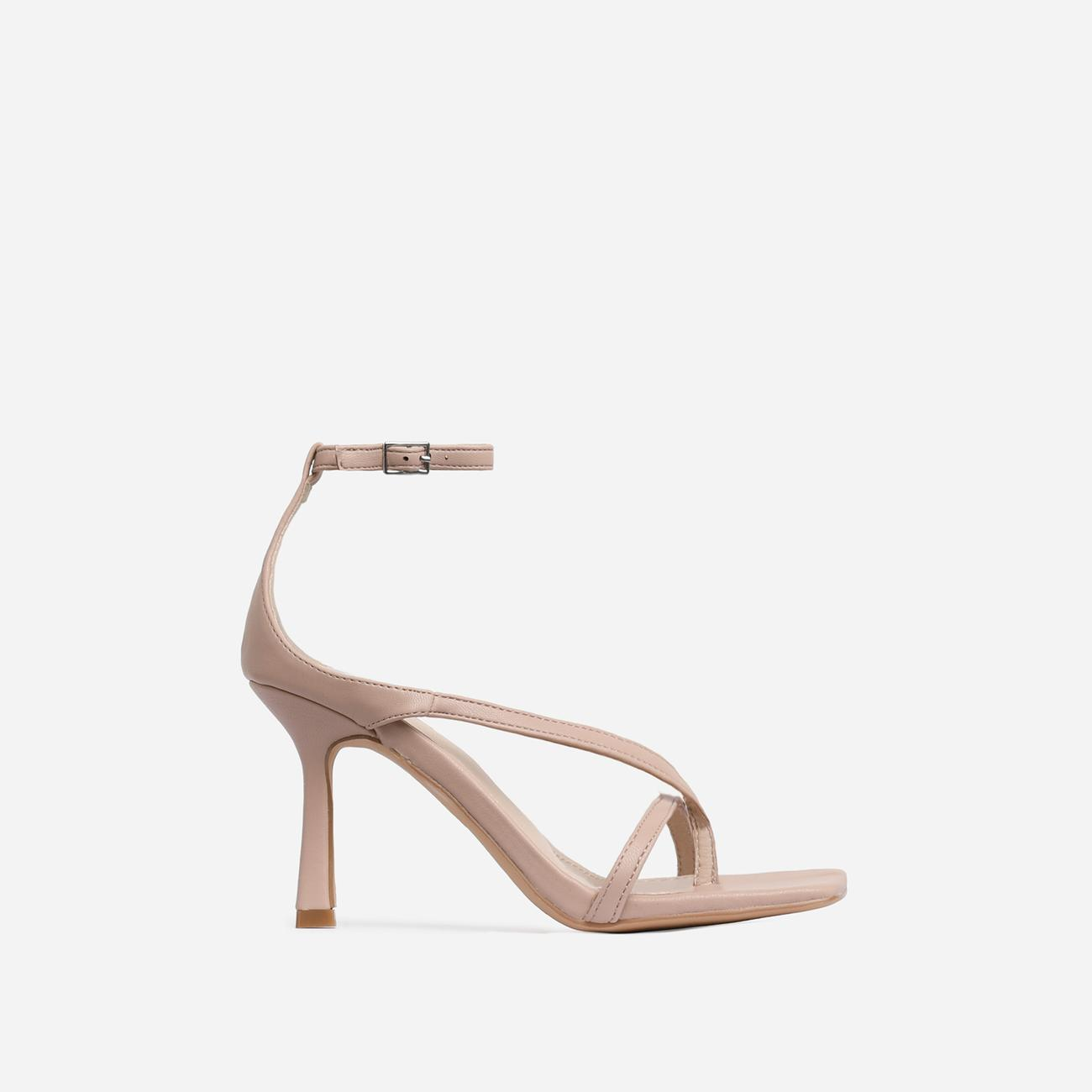 Eve Square Toe Strappy Heel In Nude Faux Leather Image 1