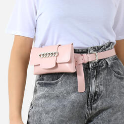 Chain Detail Belt Bag In Blush Faux Leather
