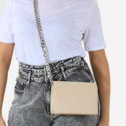 Oversized Chain Cross Body Bag In Nude Faux Leather