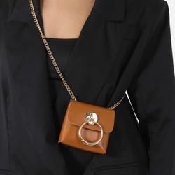 Hoop Detail Mini Bag In Tan Faux Leather