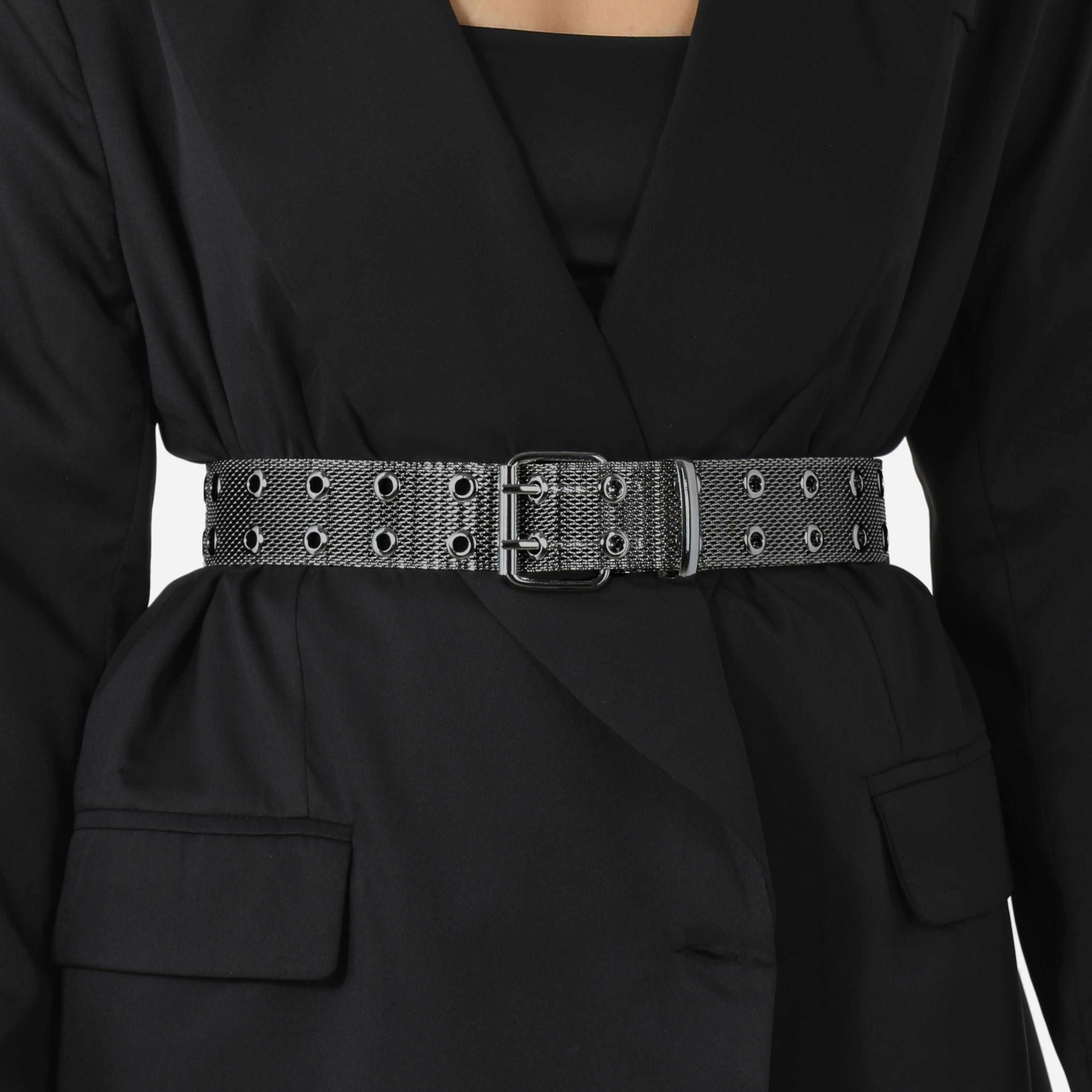 Mesh Eyelet Belt In Gunmetal Grey