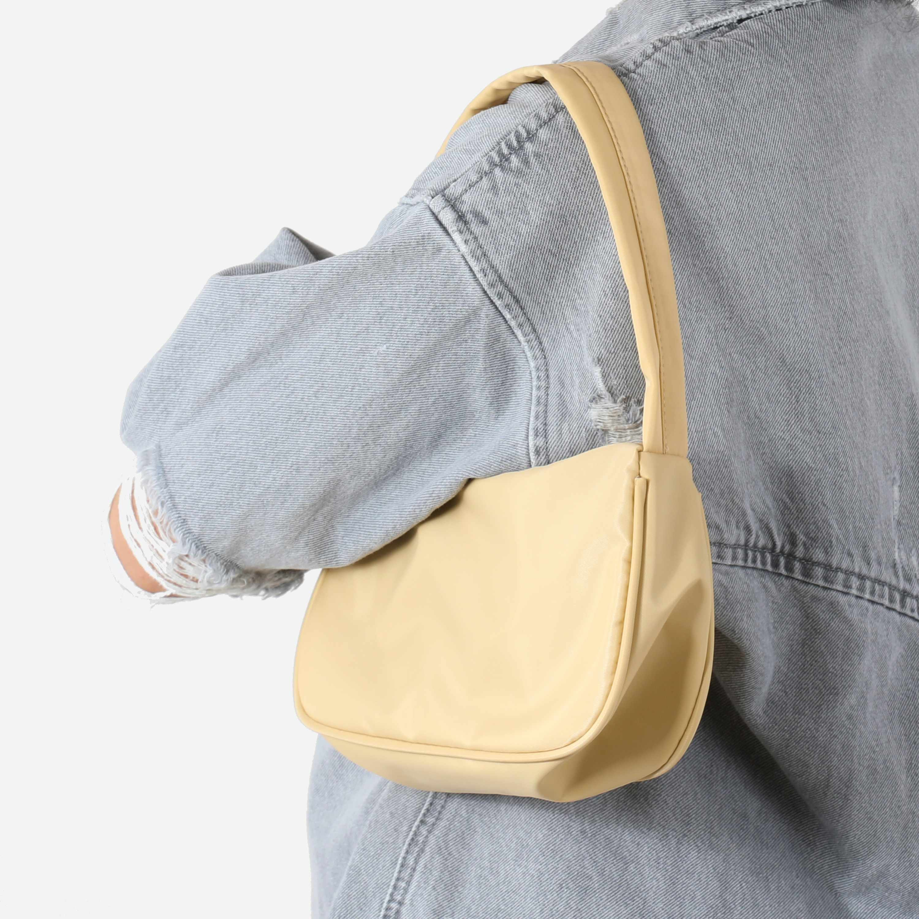 Baguette Shoulder Bag In Nude Nylon