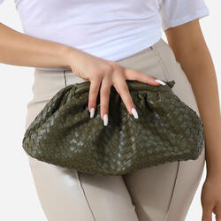 Woven Pouch Cross Body Bag In Khaki Faux Leather