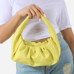 Ruched Shoulder Bag In Yellow Faux Leather
