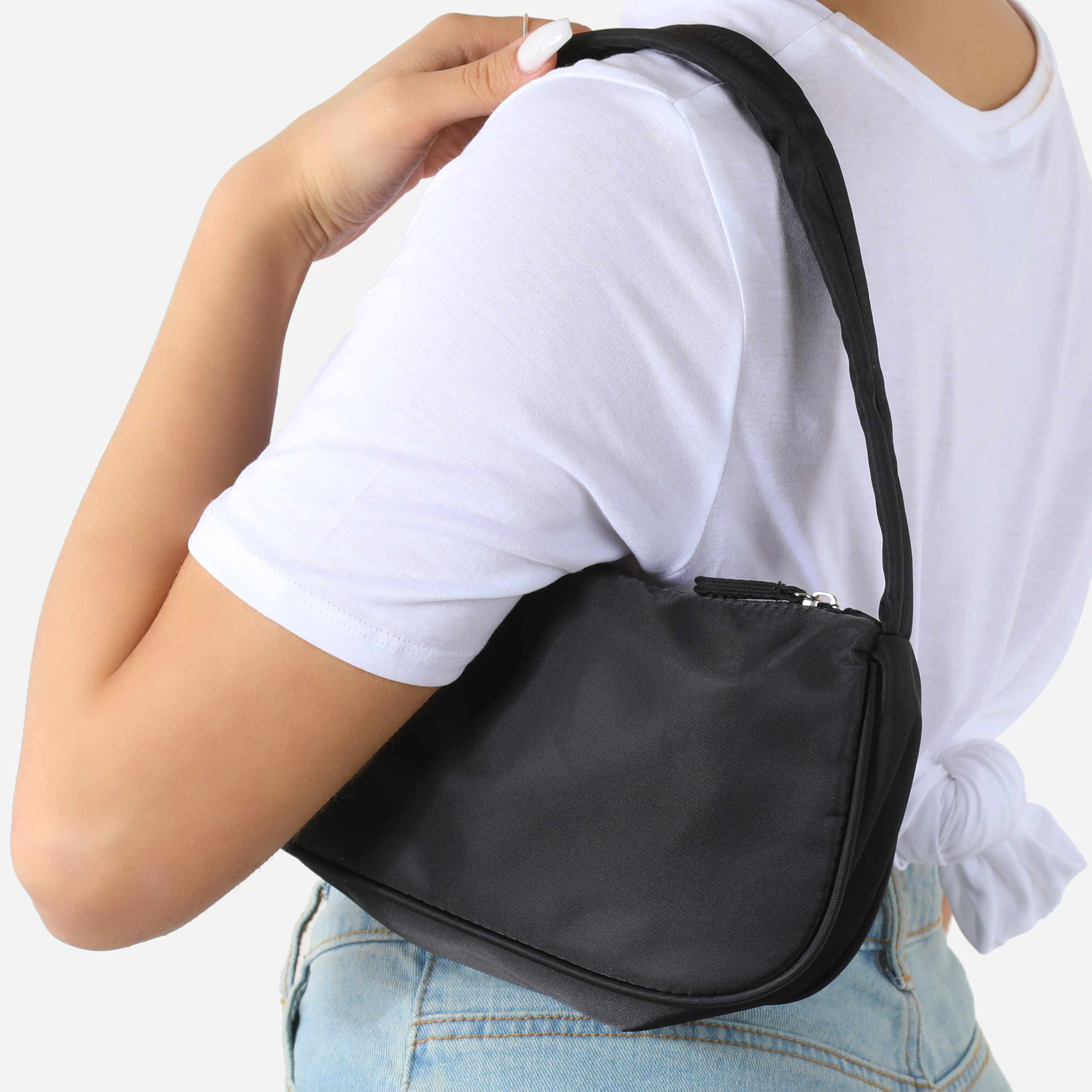 Baguette Shoulder Bag In Black Nylon