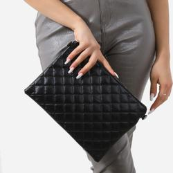 Quilted Clutch Bag In Black Faux Leather