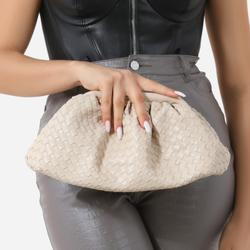 Woven Pouch Cross Body Bag In Cream Faux Leather