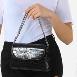 Silver Chain Detail Boxy Handbag In Black Croc Faux Leather