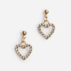 Diamante Heart Drop Earrings In Gold