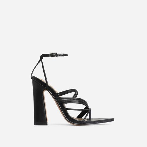 Scout Pointed Toe Strappy Flared Block Heel In Black Faux Leather