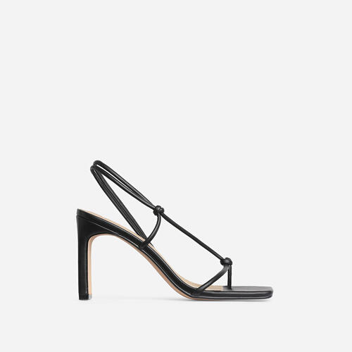 Marble Square Toe Knot Detail Heel In Black Faux Leather