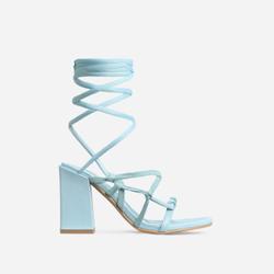 Erzi Square Toe Lace Up Block Heel In Light Blue Faux Leather