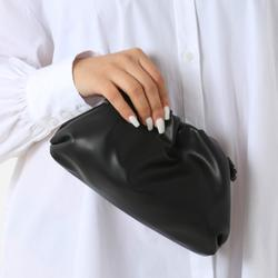 Gathered Detail Slouchy Clutch Bag In Black Faux Leather