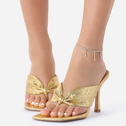 Drop Diamante Detail Anklet In Gold