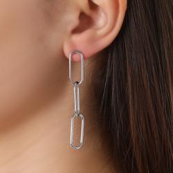 Drop Chain Earrings In Silver