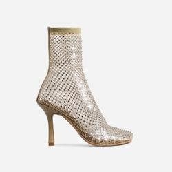 Minnie Square Toe Diamante Detail Fishnet Heel In Nude