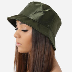 Bucket Hat In Khaki Satin