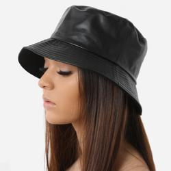 Bucket Hat In Black Faux Leather
