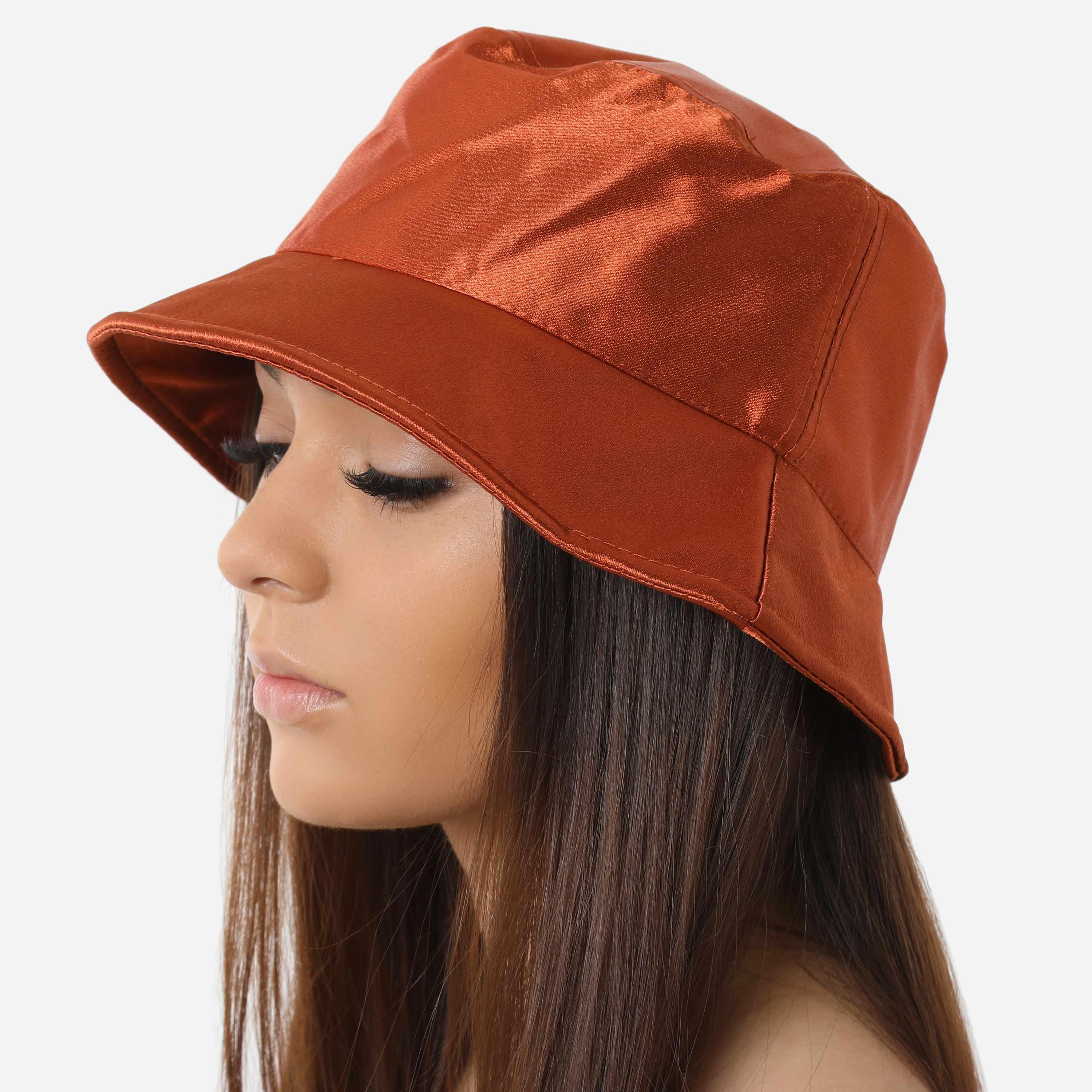 Bucket Hat In Rust Satin