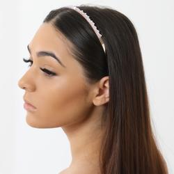 Pink Stone Detail Headband In Gold