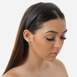 Padded Headband In Black Faux Leather