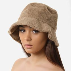 Bucket Hat In Nude Faux Shearling