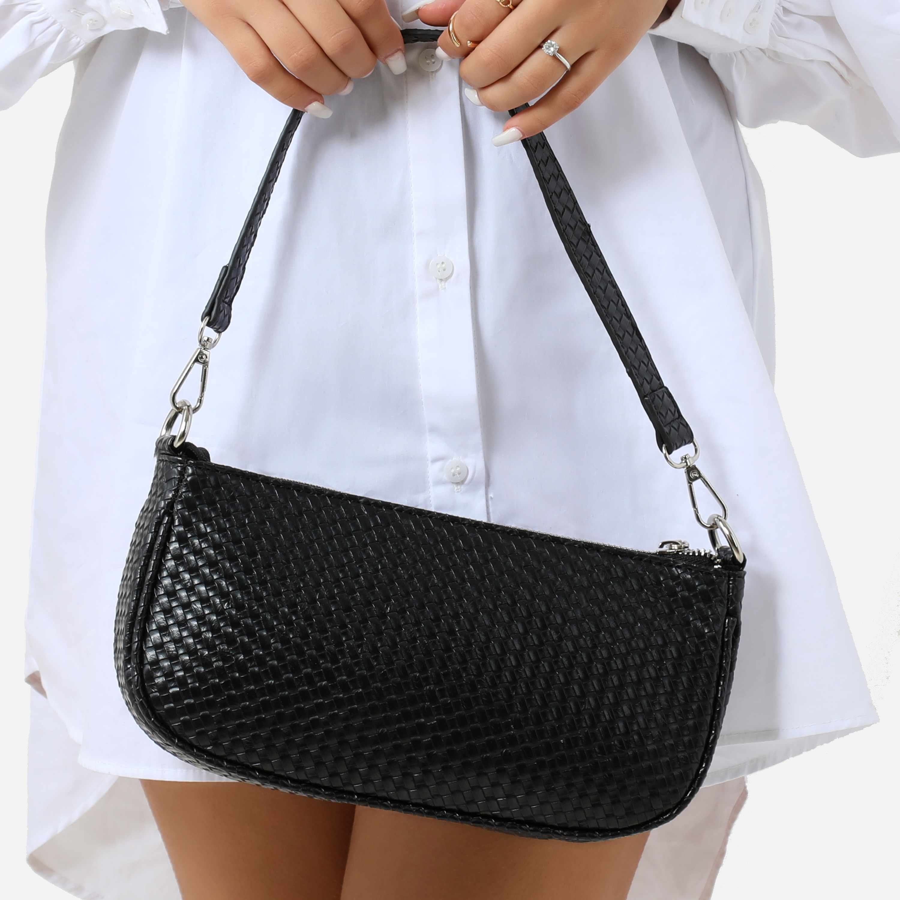 Woven Baguette Shoulder Bag In Black Faux Leather