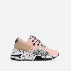 Asher Animal Print Detail Chunky Sole Lace Up Trainer In Pink