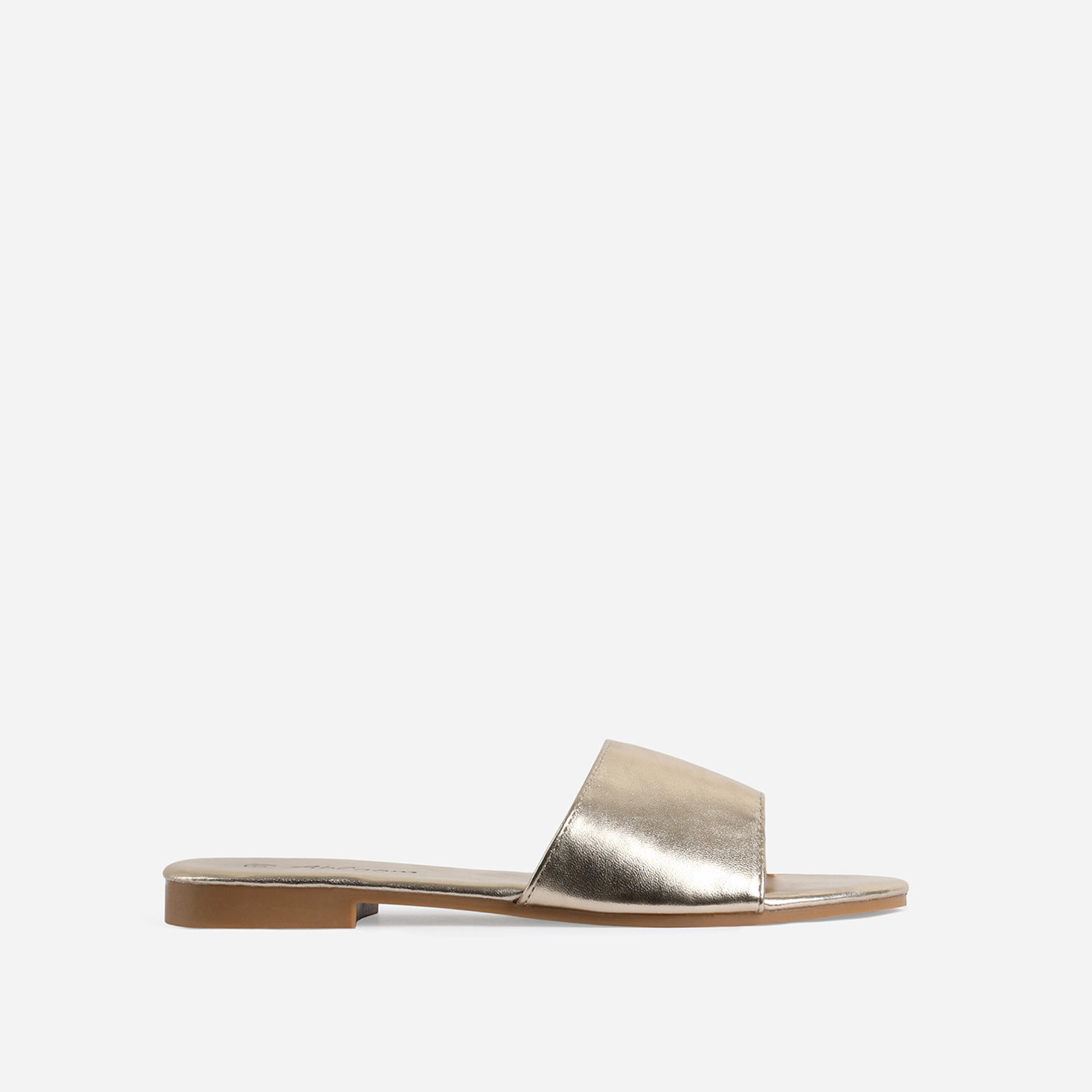 Ibiza Flat Sandal In Gold Faux Leather, Gold