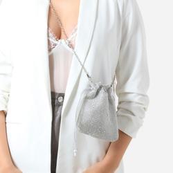 Cross Body Bag In Silver Diamante