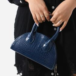 Half Circle Mini Grab Bag In Navy Croc Print Patent