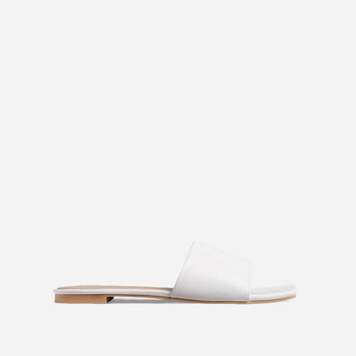 Covergirl Square Toe Flat Slider Sandal In White Faux Leather