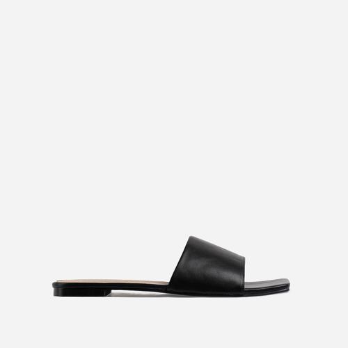 Covergirl Square Toe Flat Slider Sandal In Black Faux Leather