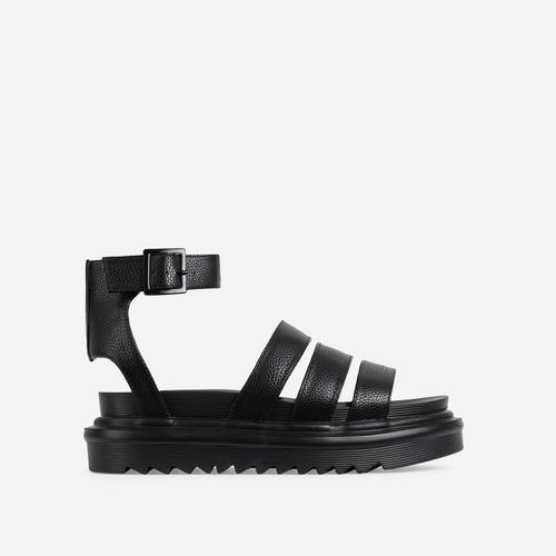 Hater Chunky Sole Flat Gladiator Sandal In Black Faux Leather