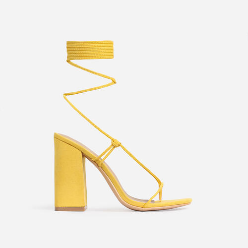 Honey Square Toe Lace Up Block Heel In Yellow Faux Suede