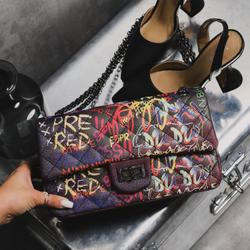 Chain Detail Quilted Cross Body Bag In Black Graffiti Print Faux Leather