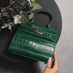 Lock Detail Bag In Green Croc Print Patent