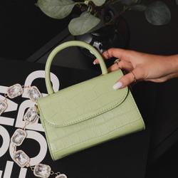Boxy Single Handle Tote Bag In Green Croc Print Patent