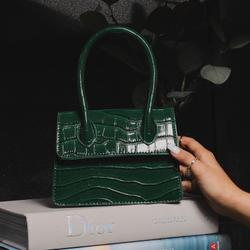 Single Handle Cross Body Bag In Green Croc Print Patent