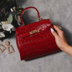 Lock Detail Bag In Red Croc Print Patent