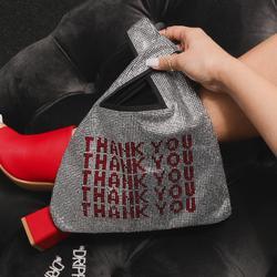 Thank You Slogan Shopper Bag In Silver Diamante