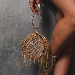 Diamante Sphere Bag In Gold Diamante