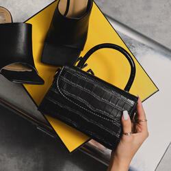 Boxy Single Handle Tote Bag In Black Croc Print Patent