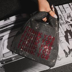Thank You Slogan Shopper Bag In Black Diamante