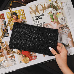 Chain Detail Cross Body Bag In Black Diamante
